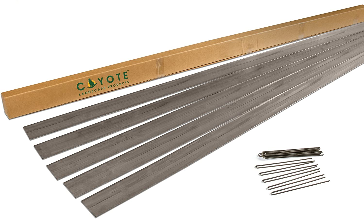 """Coyote Landscape Products 5 each 6"""" X 8' x18 gauge Rolled Top Raw Lawn Edging Home Kit with 15 each Raw Edge Pins"""