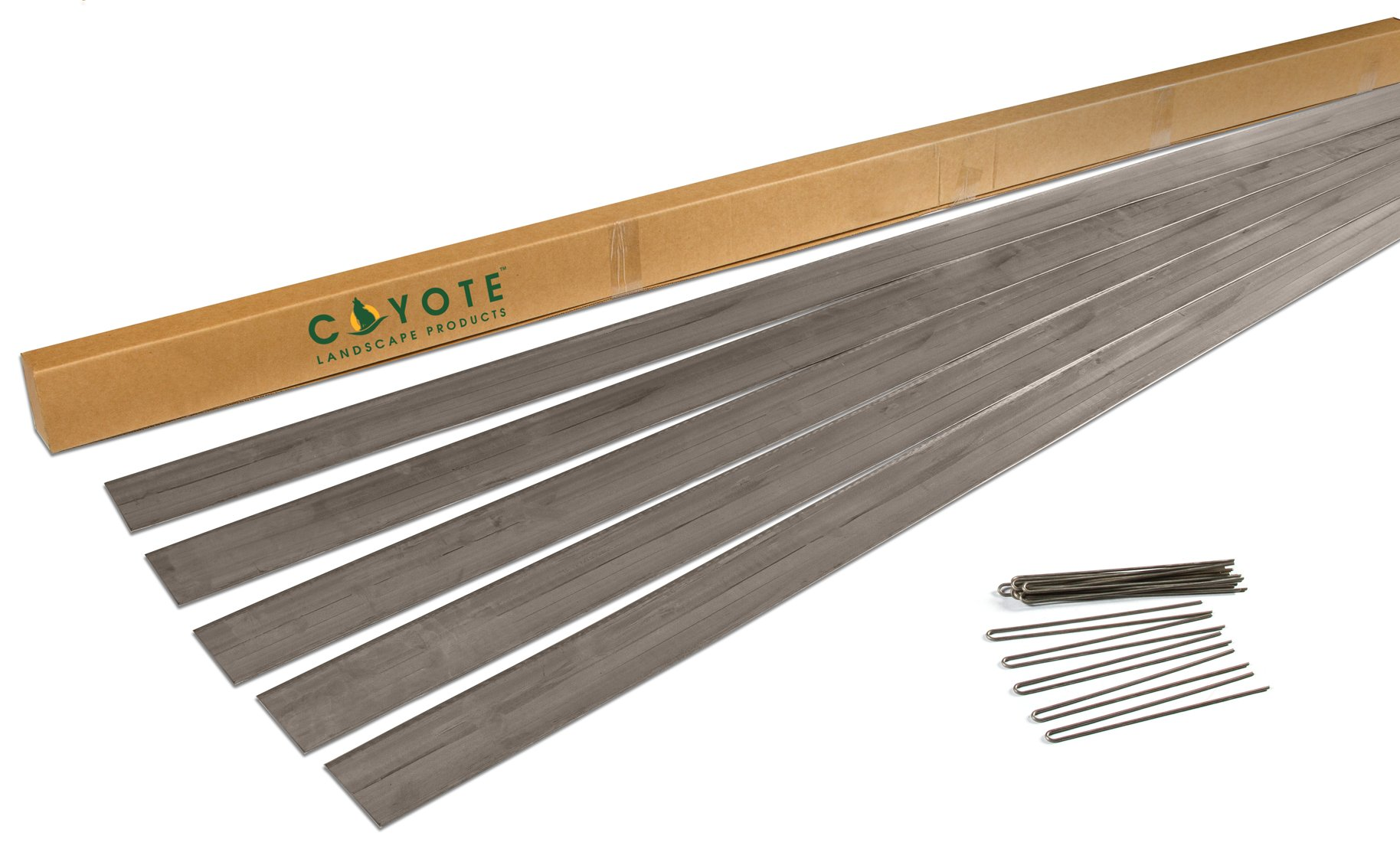 Coyote Landscape Products 5 each 6'' X 8' x18 gauge Rolled Top Raw Lawn Edging Home Kit with 15 each Raw Edge Pins
