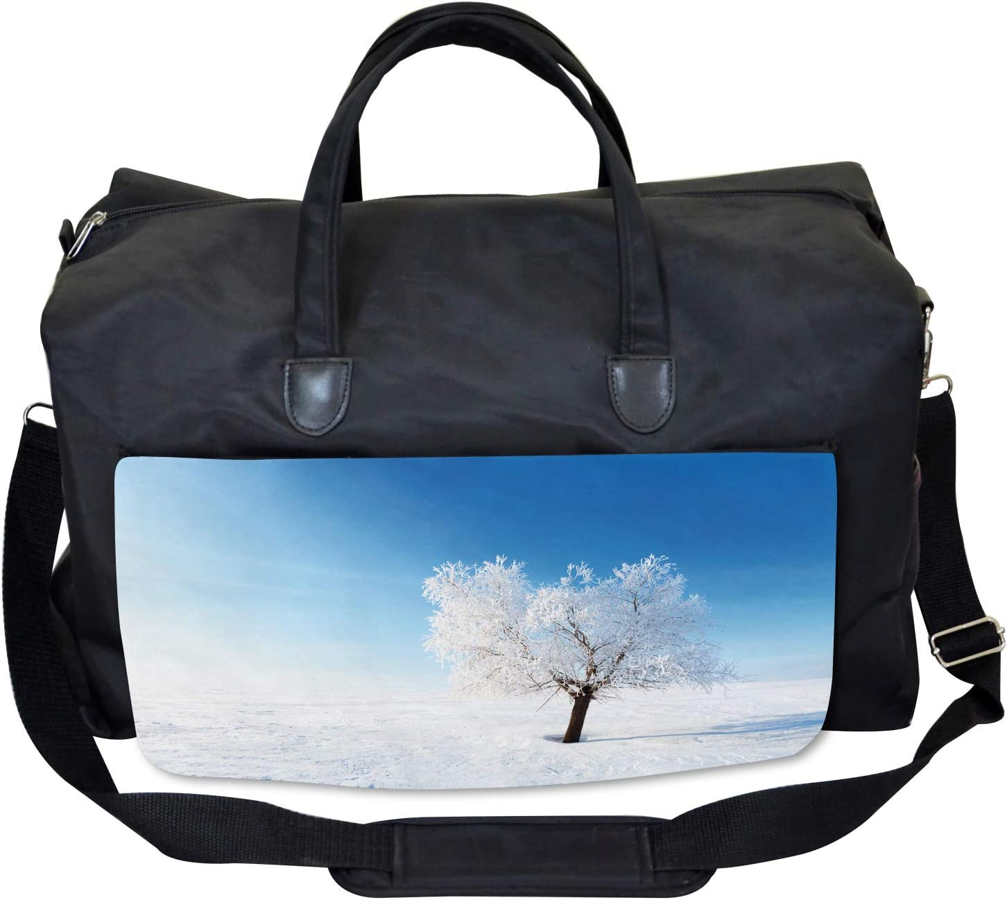 Ambesonne Winter Gym Bag Large Weekender Carry-on Snow Covered Alone Tree