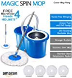 HOLME'S Easy Magic Bucket Spin Mop Double Drive Hand Pressure With 4 Microfiber Mop Head With Soap Dispenser/Color May Vary