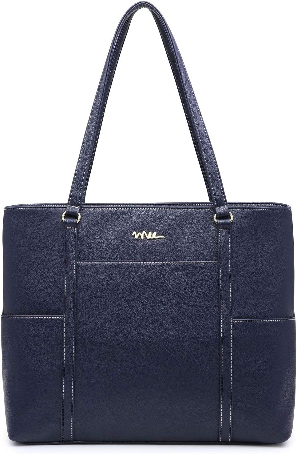 NNEE Classic Laptop Leather Tote Bag for 15 15.6 inch Notebook Computers Travel Carrying Bag with Smart Trolley Strap Design - Navy