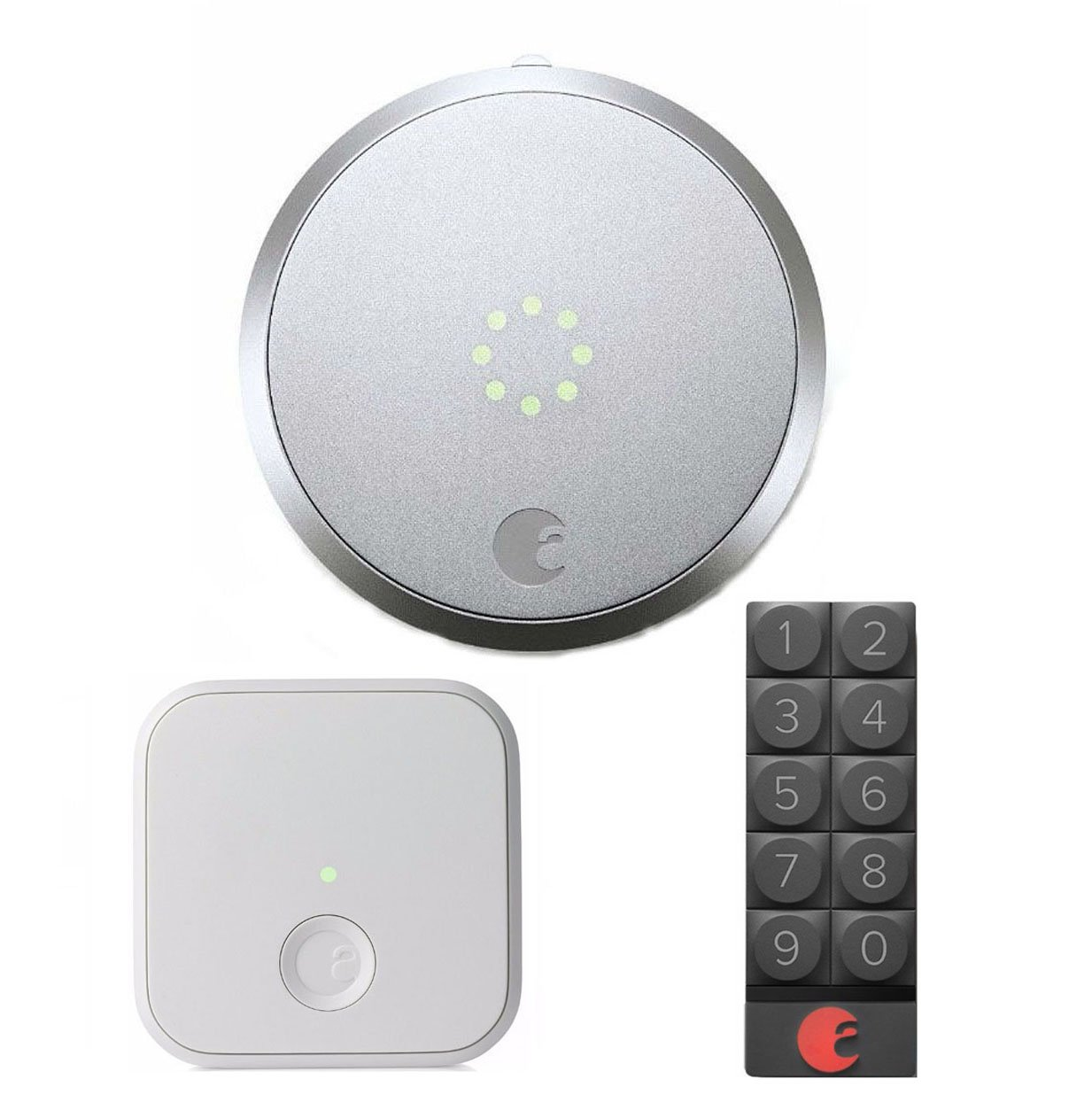 August Smart Lock In Silver, August Connect Wireless Receiver In White & Smart Keypad (Dark Gray)