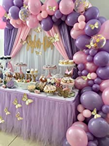 126pcs Butterfly Purple Pink Balloon Garland Arch Kit Theme Baby Shower Birthday Party Decorations for Girl, Pink Purple Gold Balloons for Princess Birthday Baby Shower Decor, Baby Girl Balloon