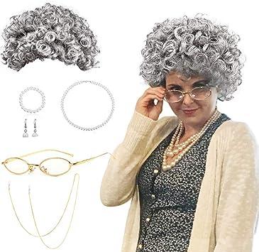 SPECOOL Peluca Abuela Abuela Cosplay Accesorio con Gris Abuela ...