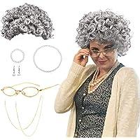 SPECOOL Peluca Abuela Abuela Cosplay Accesorio con Gris Abuela Peluca Vieja Abuela Gafas,Correa Cadenas Gafas,Joyería…