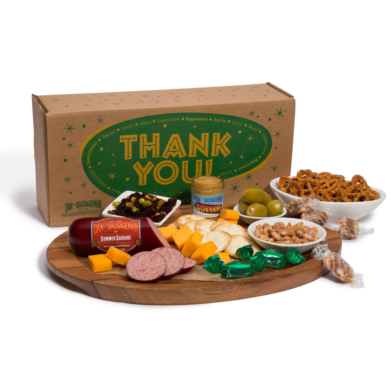Dan the Sausageman's Thank You Gift Basket Featuring Summer Sausage, Wisconsin Cheese, Seattle Chocolates and Dan's Mustard. by Dan the Sausageman