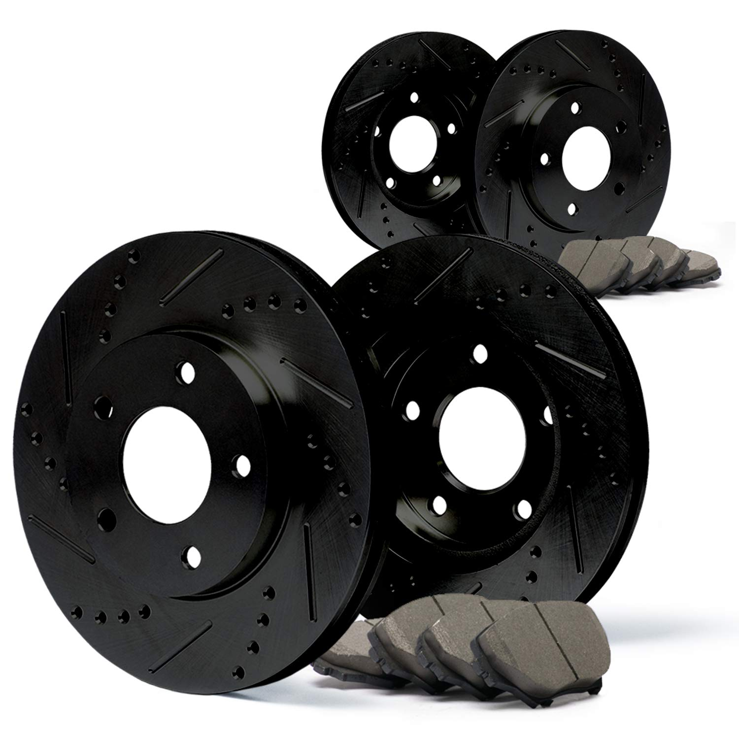 (Front) + (Rear) E-Coated Slotted Drilled Rotors w/Ceramic Pads Elite Brake Kit CP038683 | Fits: 2005 05 Nissan Titan After Feb 2005