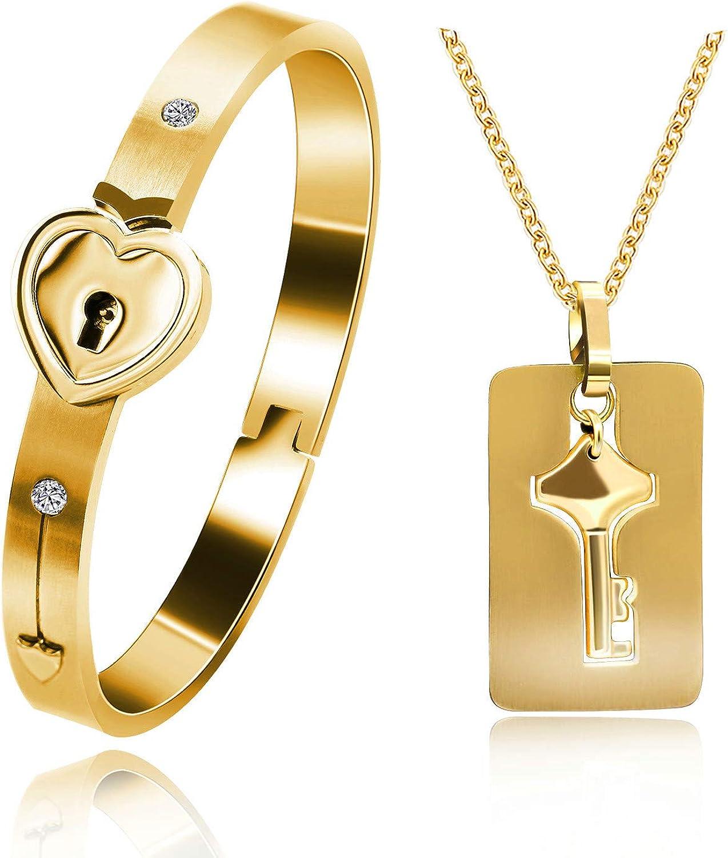 Uloveido Rose Gold Plated Titanium Matching Puzzle Couple Heart Lock Bracelet and Key Pendant Necklace for Men and Women, Matching Bracelet Necklace for Girlfriend Boyfriend