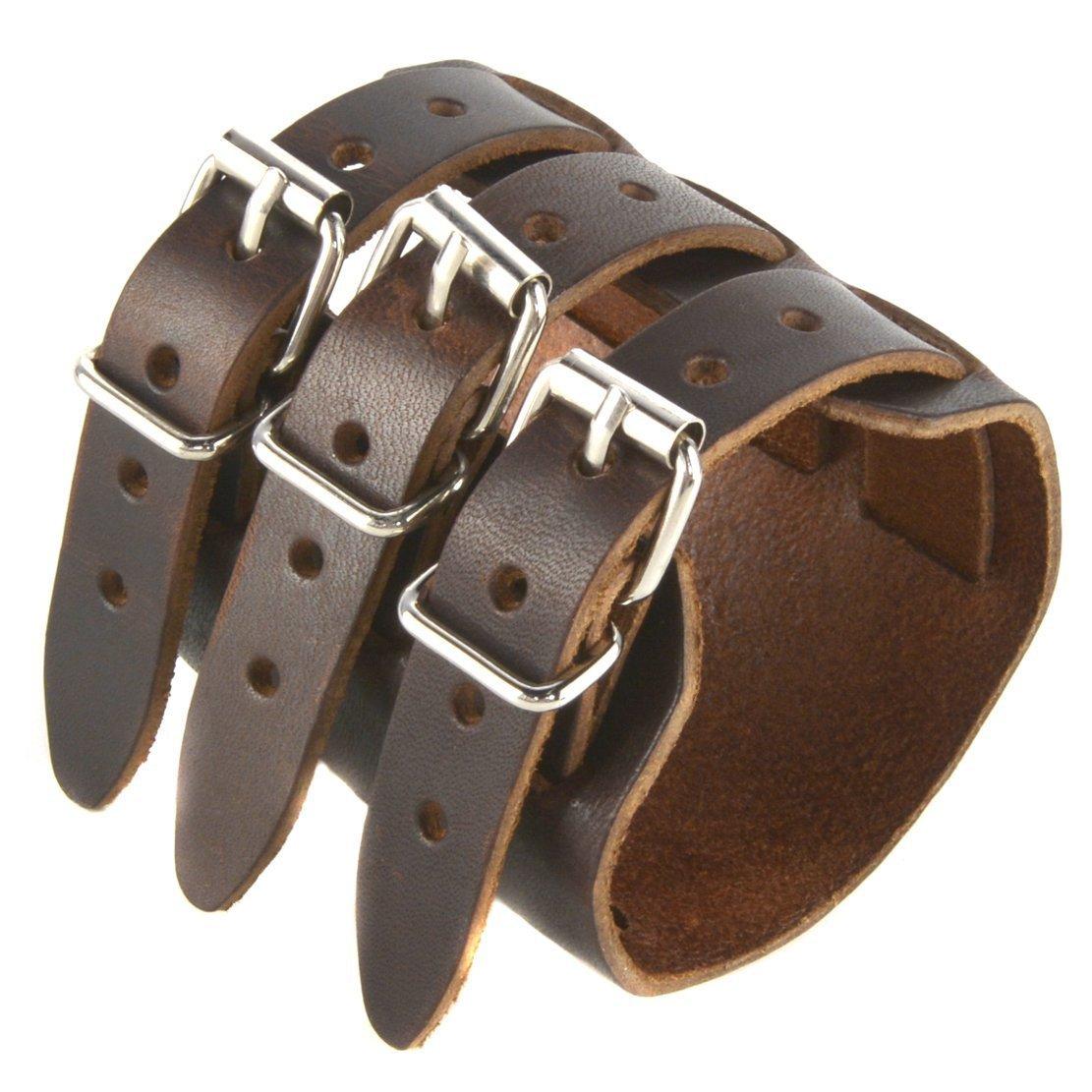 sin mínimo Brazalete de piel marrón oscuro con triple correa y cierre cierre cierre de hebilla  marca