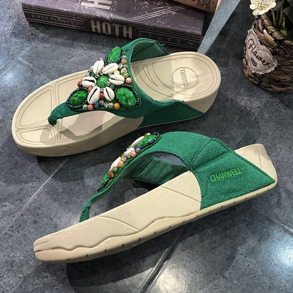 GIY Womens Summer Beach Platform Flip Flops Bohemian Bling Shell Slip-On Thong Mid Wedge Heel Sandals Green