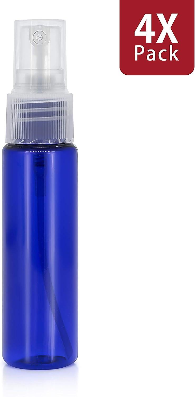 MyGadget Juego de 4 Botellas de Spray Vacías (30 ml) - Recipientes de Plástico Rellenables para Desmaquillante Aceites Esenciales Perfume Agua - Azul Oscuro