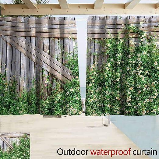 AndyTours - Cortinas de oscurecimiento de Madera de bambú con diseño de Flores de Margaritas de Hiedra para Exteriores, Color Verde pálido y marrón: Amazon.es: Jardín