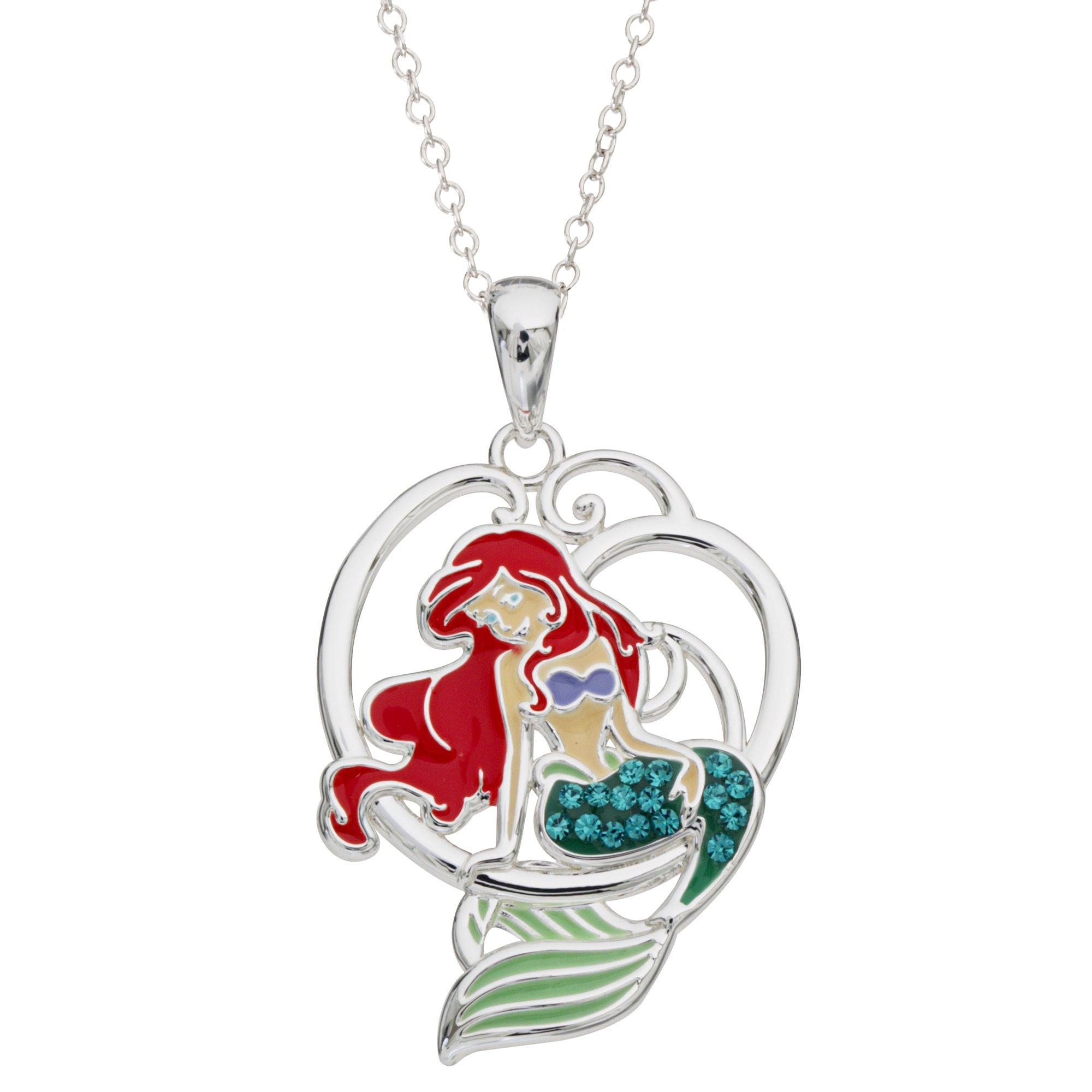 Disney Little Mermaid Ariel Silver Plated Crystal Pendant, 18''