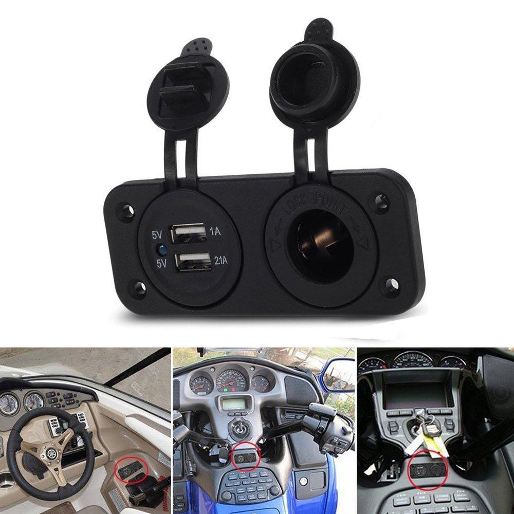 Carviya Moto de voiture 12/V Auto Truck v/éhicule allume cigare prise de courant Splitter Assiette de montage sur panneau avec double USB Adaptateur prise