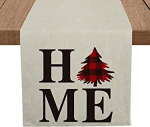 Artoid Mode Home Buffalo Plaid Tree Table Runner, Seasonal Winter Christmas Holiday Tablecloth Kitchen Dining Table Linen for Indoor Outdoor Home Party Decor 13 x 72 Inch