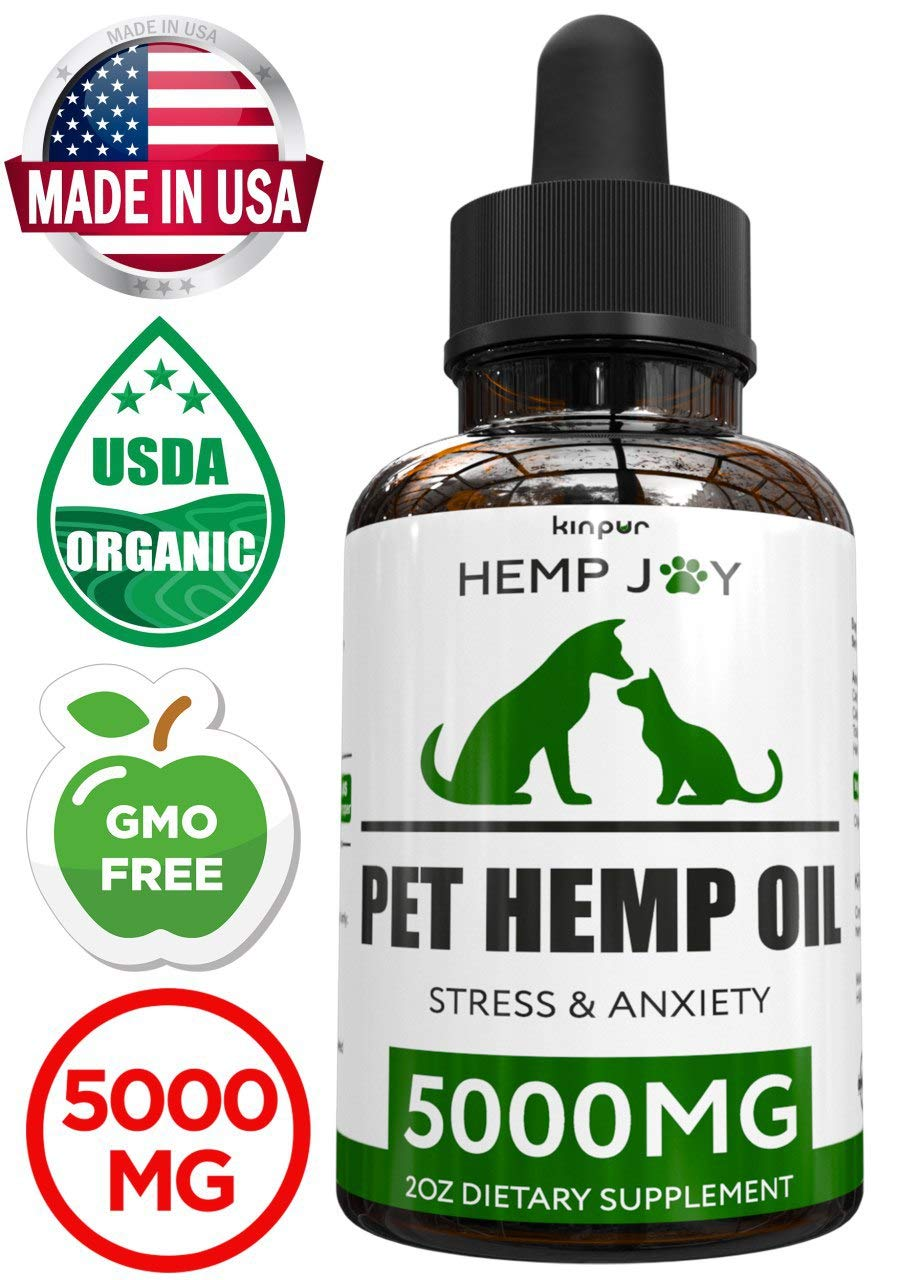 Natural Hemp Oil for Dogs & Cats - 5000mg - Pet Hemp Oil - Separation Anxiety & Stress Relief - Supports Mobility, Hip & Joint, Immune System - Calming Treats for Dogs - Made in USA