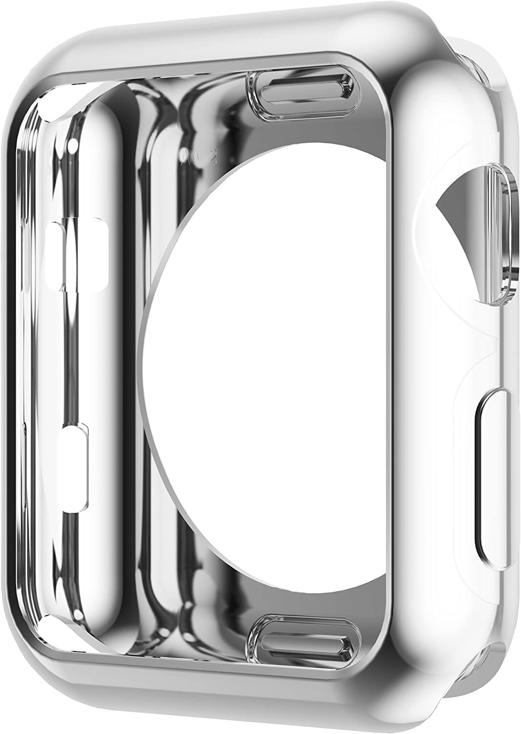 Leotop Compatible with Apple Watch Case 44mm 40mm, Soft Flexible TPU Plated Protector Bumper Shiny Cover Lightweight Thin Guard Shockproof Frame Compatible for iWatch Series 6 5 4 SE (Silver, 44mm)