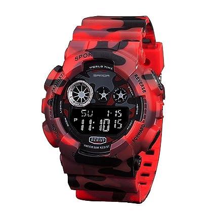 SANDA Reloj digital de camuflaje, sumergible 50 m, cuarzo, color rojo