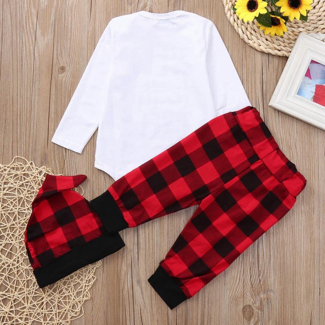 Hat Boys Girls Letter Print Romper Jumpsuit Plaid Pants squarex Baby Outfits Set