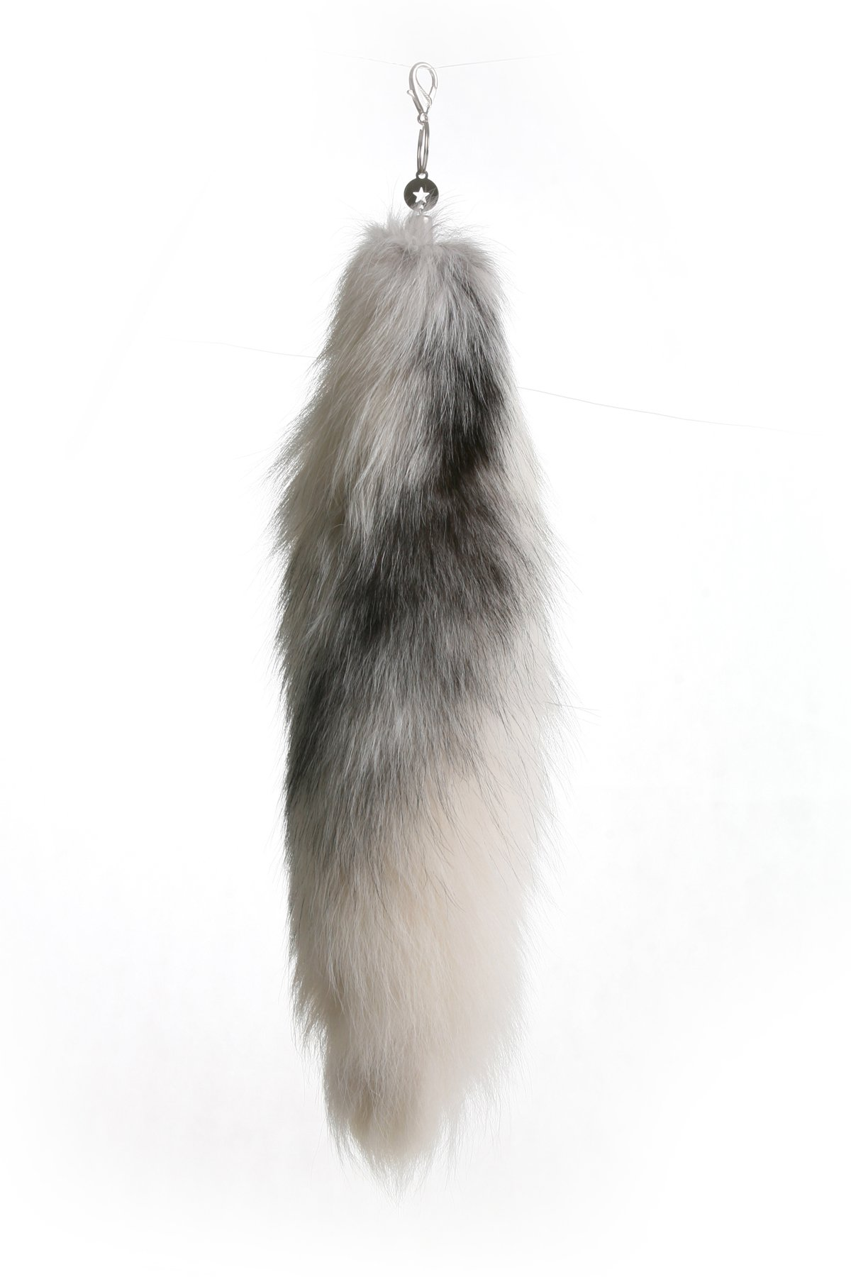 URSFUR 20'' Fluffy White Gray Fox Tail Fur Keychain Cosplay Toy Car Bag Charm Tassel Key Chain Ring Hook Alopex Lagopus Handbag Accessories