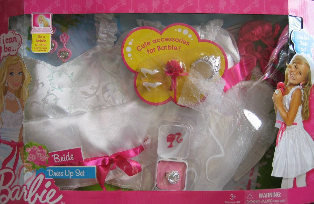 Barbie I Can Be... BRIDE Costume Dress Up Set CHILD Size 4-6X w On-Line Code (2009) by Barbie
