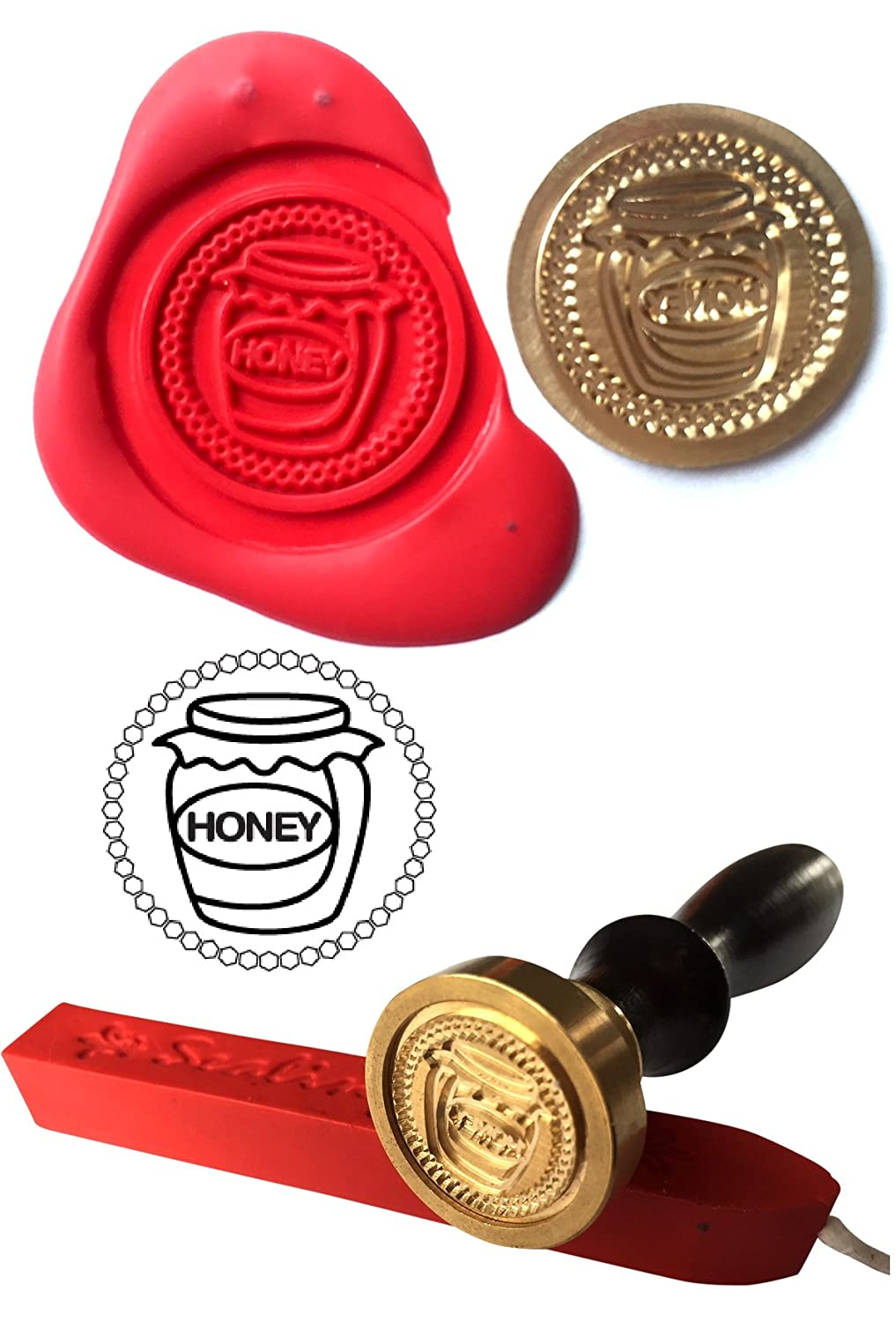Wax Stamp, JAR OF HONEY Beekeeper Apiarist Honey Bees Coin Seal and Red Wax Stick XWSC023-KIT (S19) GTR-Gifts