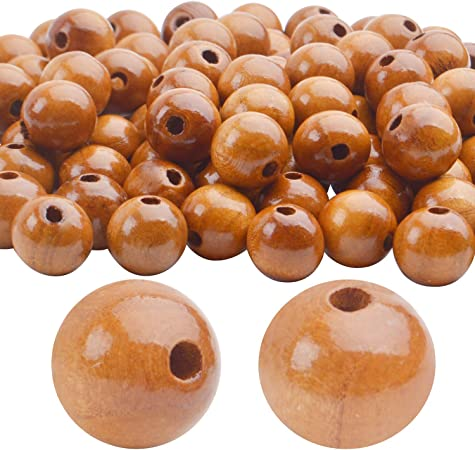 BronaGrand 100pcs 16mm Wood Round Bead Natural Wood Spacer Beads Wooden Beads for Jewelry Making DIY