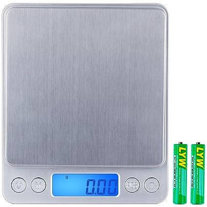 Zacro báscula de precisión, Báscula Digital de bolsillo 500 G x 0.1 g, balanza
