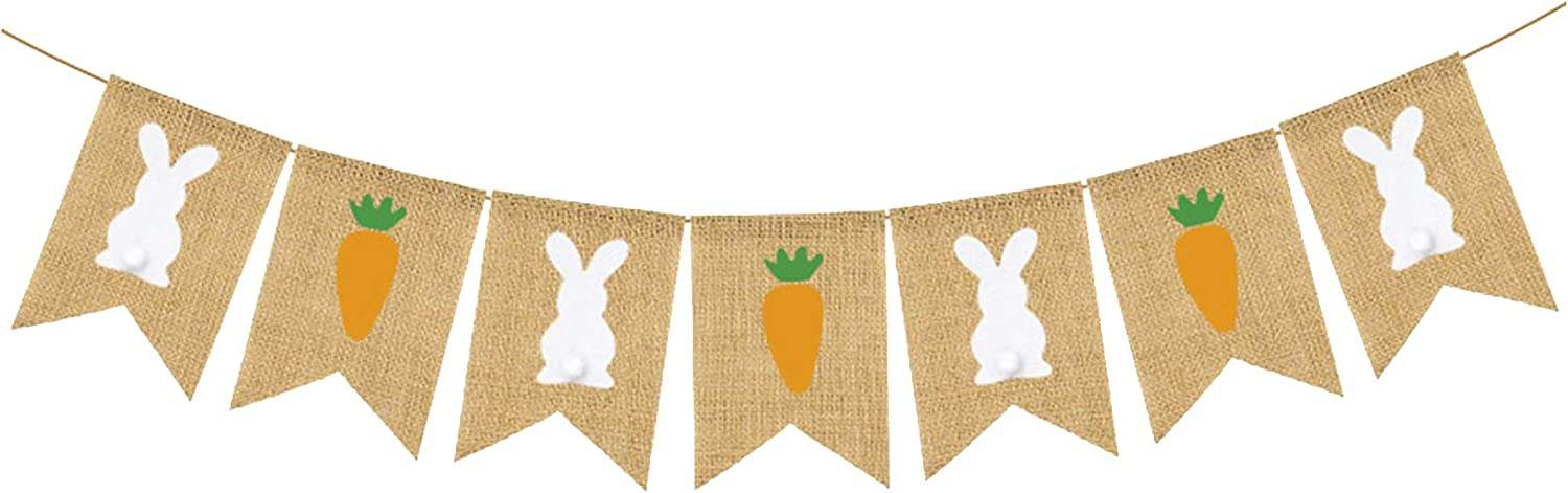 S SNUOY Colorful Happy Easter Banner Easter Decorations Bunting Bunny Easter Rabbit Carrot Hanging Burlap Banner Spring Decor Party