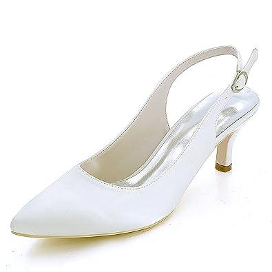 Scarpe Sposa Tacco 6 Cm.Elobaby Donna Scarpe Da Sposa Autunno Moda Fibbia Chunky Tacchi