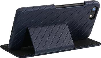 """StilGut Book Type Case con Clip e con Funzione Supporto, Custodia in Pelle Cover per iPhone 8 e iPhone 7 (4,7"""") Chiusura a Libro Flip-Case in Vera Pelle, Blu Scuro Prestige"""