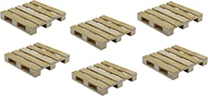Creative Hobbies 6-Pack Mini Wood Pallet Coasters for Beverages, Hot and Cold Drinks, Mini Building Blocks Stacking, DIY Crafts, 4
