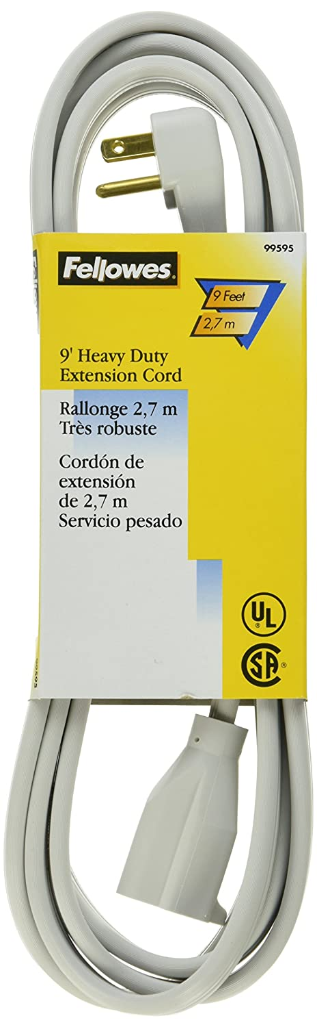 Fellowes 1-Outlet 3-Prong Heavy Duty Indoor Extension Cord, 9 Feet - 99595