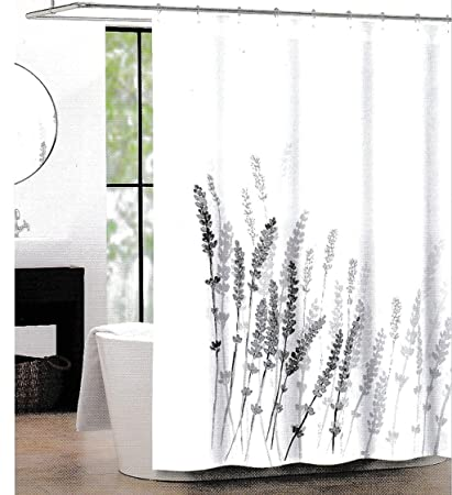 Tahari Fabric Shower Curtain Lavender Pattern Gray On White