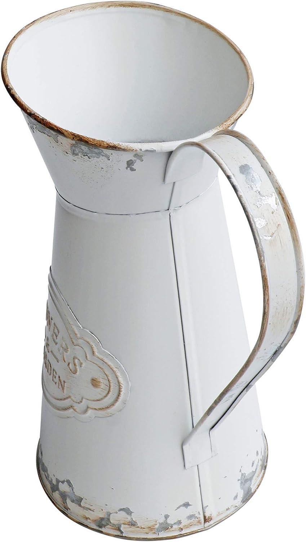 Pot de Fleurs pour d/écoration Style Shabby Chic Vase en m/étal Blanc Pot /à Lait Mini Vase Rustique Pichet Primitive HyFanStr