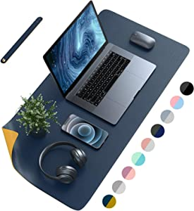 "AFRITEE Desk Pad Protector Mat - Dual Side PU Leather Desk Mat Large Mouse Pad Waterproof Desk Organizers Office Home Table Decor Gaming Writing Mat Smooth (Navy Blue/Yellow, 35.4"" x 17"")"