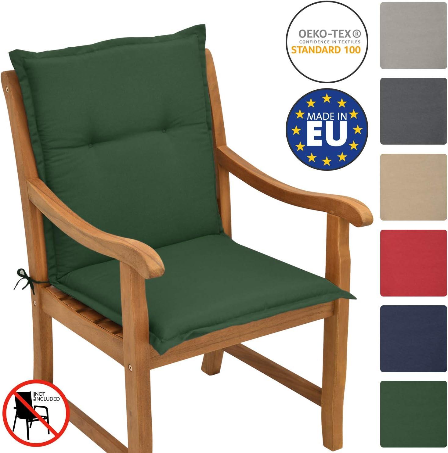 Beautissu Garden Chair Cushion Seat Pad Set of 6 Sunny NL 100 x 50 x 6 cm Blue