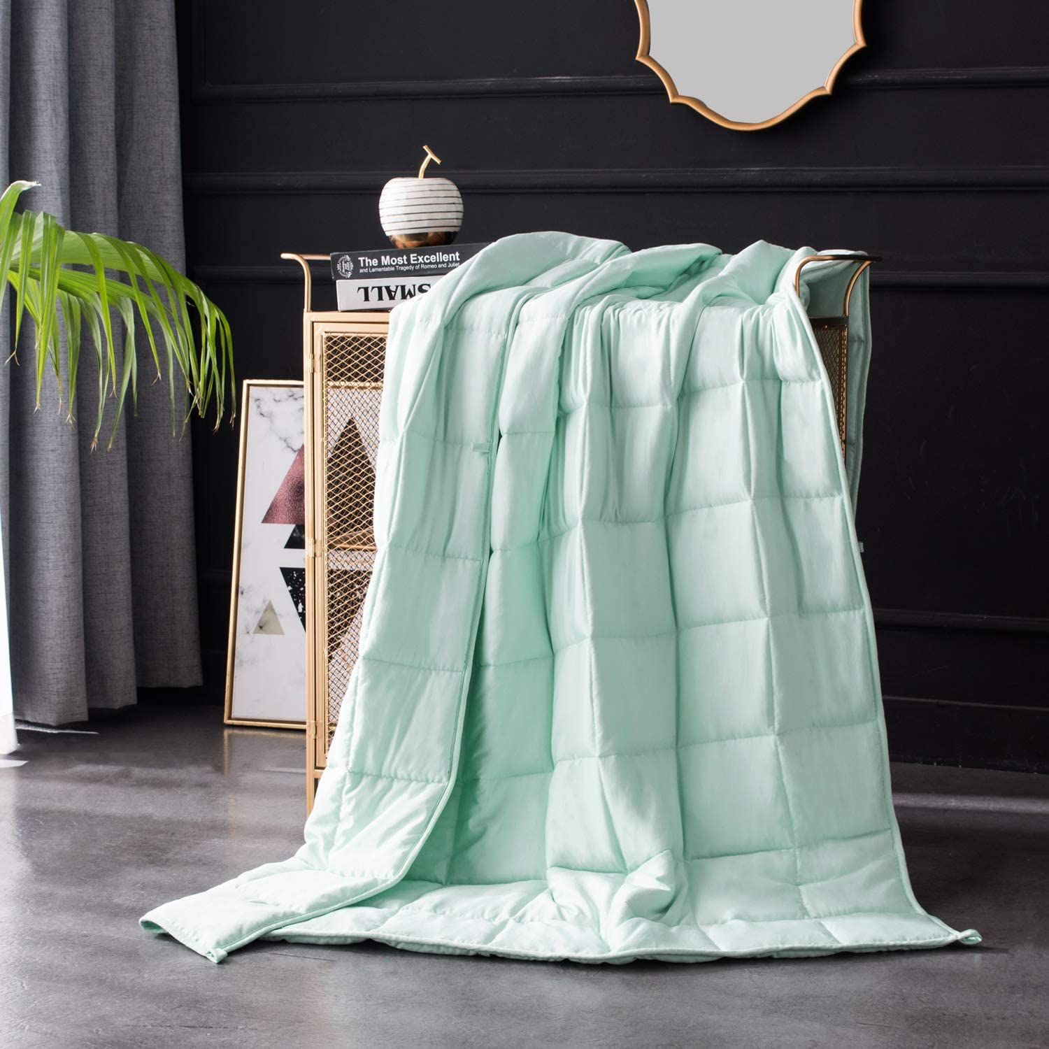 Maple Down Summer Cooling Weighted Blanket, Heavy Blanket Cool Bed Blankets Natural Bamboo Viscose Luxury   25lbs, 80x87'', King   Mircro Glass Beads   Mint Green