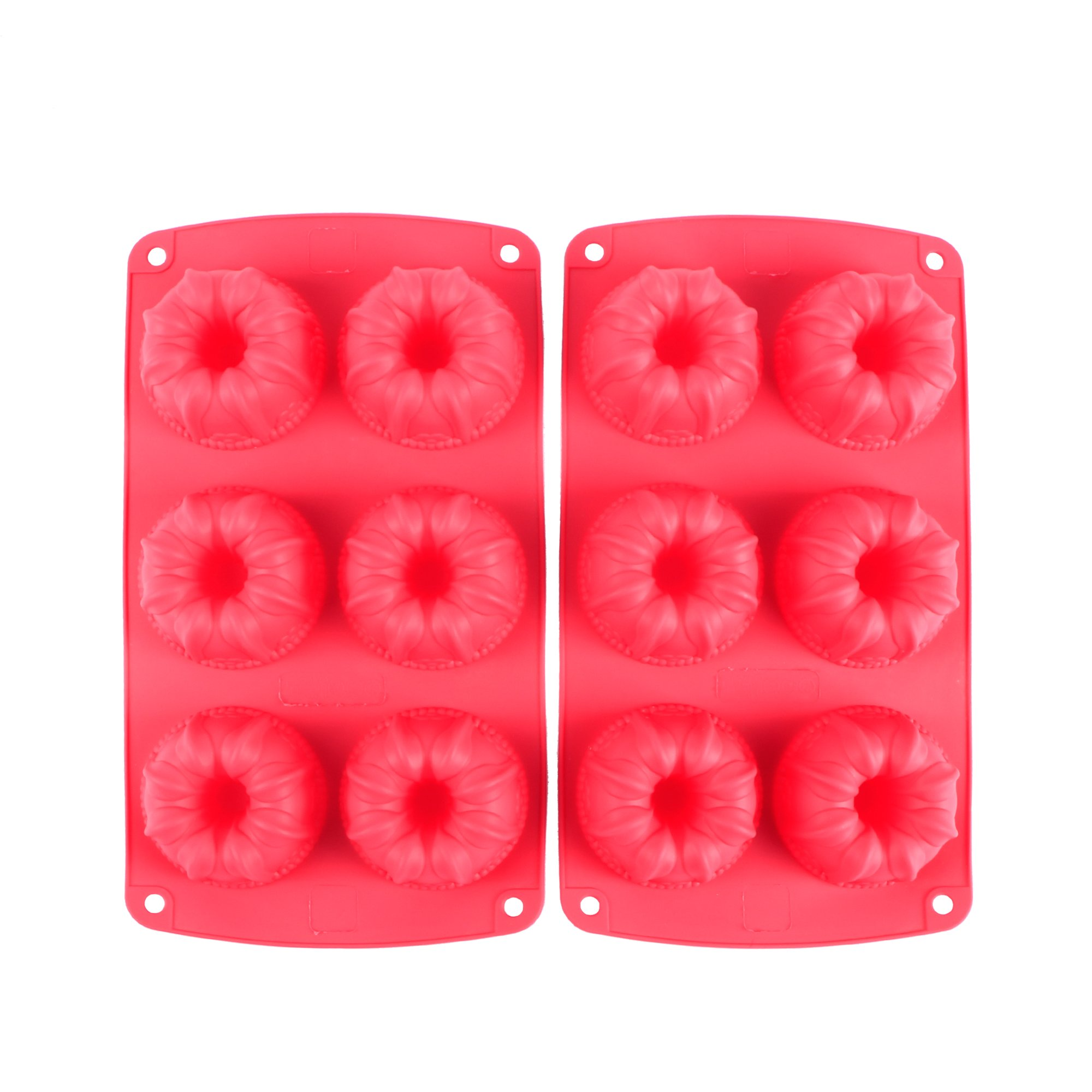 Webake 6-Cavity Silicone Fancy Bundt Cake Muffin Cupcake Mold,Set of 2