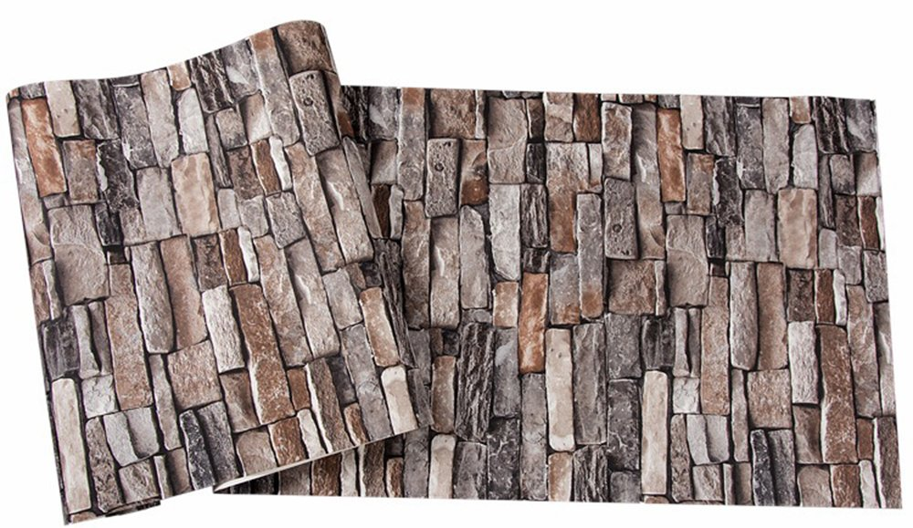 Brick Wallpaper, 3D Stone Textured, Removable and Waterproof for Home Design,Livingroom, Bedroom, Kitchen and Bathroom Decoration 20.8In x 32.8Ft, Gray/Brown/Black by Vopie (Image #5)