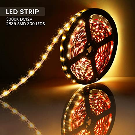 LED Strip Lights,AMBOTHER 5m 300 LED 2835 SMD Strip Light Ribbon 3000K Warm White Fairy Non-Waterproof Lights Indoor Lighting for Decoration Party Kitchen Self-Adhesive Cuttable Double-Sided Tape DC12