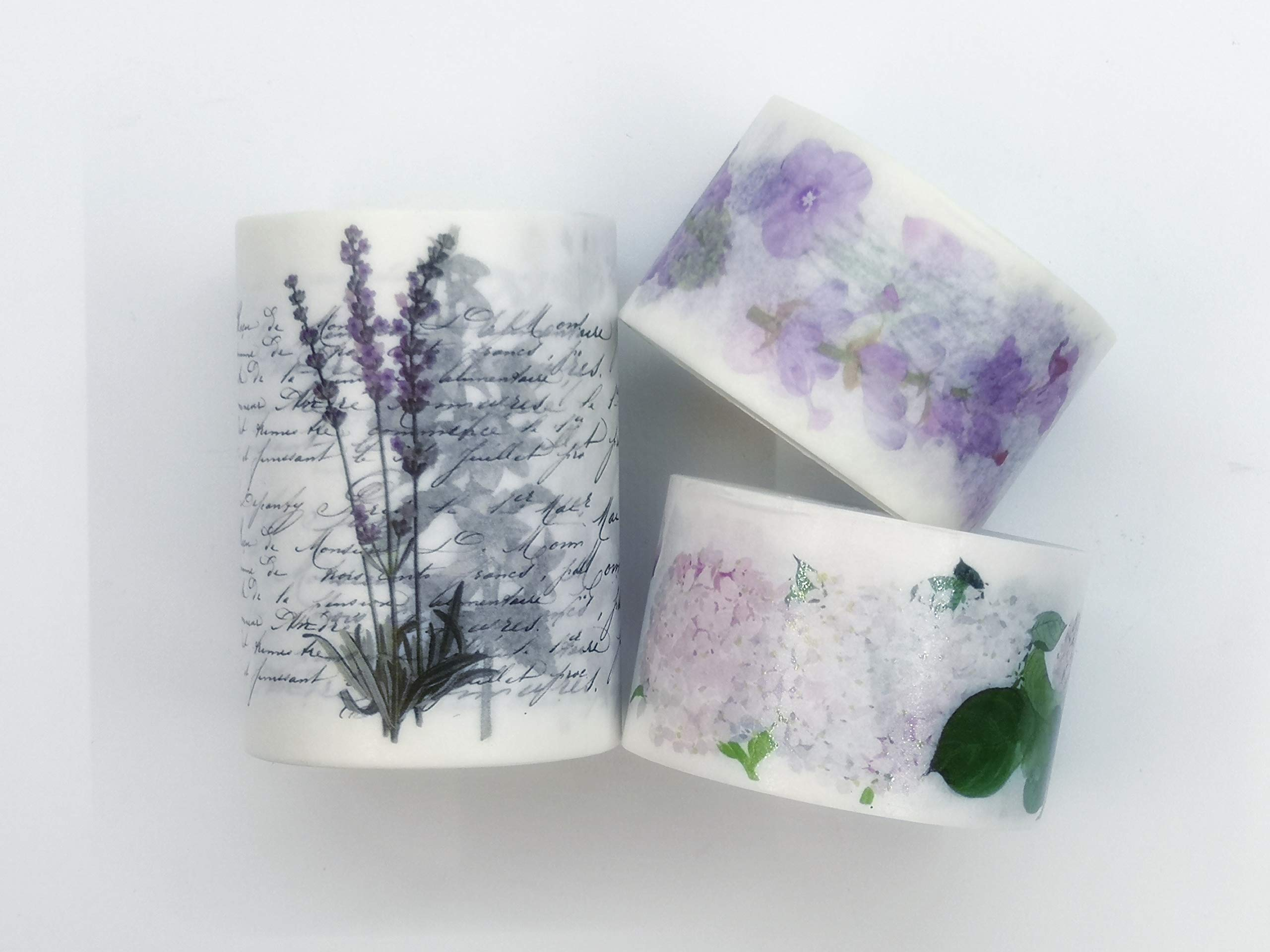 Hydrangea, Lavender, Violets, and Other Purple Florals washi Tape Set Japanese Masking Tape for scrapbooks, Crafts, Cards, and Decorating. Incl Extra Wide Tape