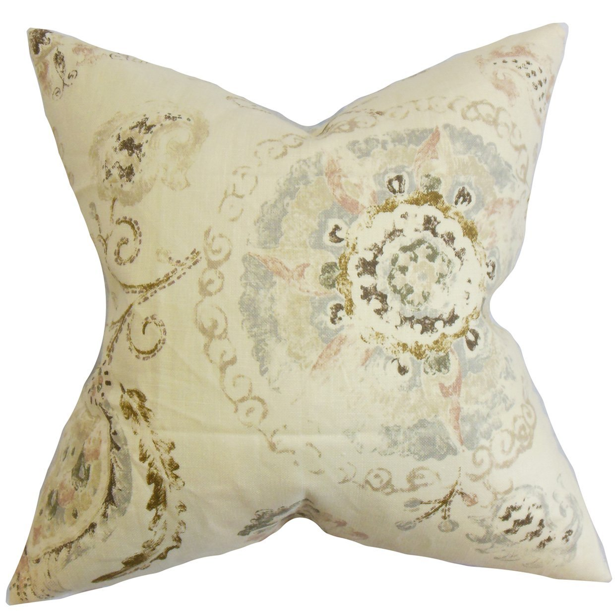 The Pillow Collection Riah Floral Bedding Sham Brown Queen//20 x 30