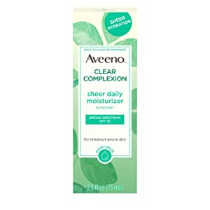 Aveeno Clear Complexion Sheer Daily Face Moisturizer with Broad Spectrum SPF 30 Sunscreen & Total Soy Complex for Breakout-Prone Skin, Non-Greasy, Lightweight & Oil-Free, 2.5 fl. oz