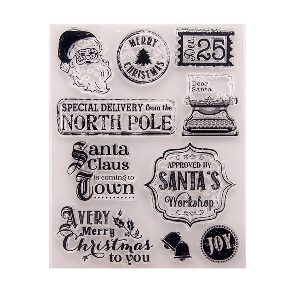 exing Babbo Natale trasparente timbro Clear Stamp Cling Seal DIY Scrapbook Embossing Album Decor Craft