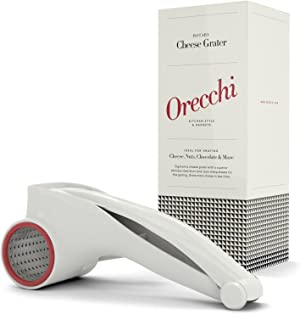 Orecchi Rotary Cheese Grater - Handheld Cheese Cutter Slicer Shredder with One Stainless Steel Drum - Multi Purpose Parmesan Cheese Grater
