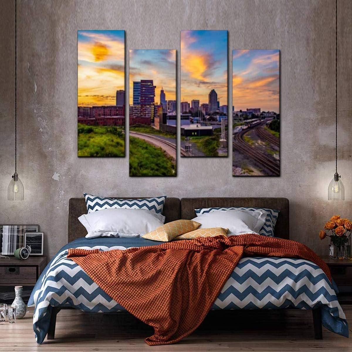 Raleigh,North Carolina,Metal Art,Skyline,Raleigh Art,Wall Art,Home Decor,Office Decor,NC State,Car Trails,City Skyline,Living Room Decor