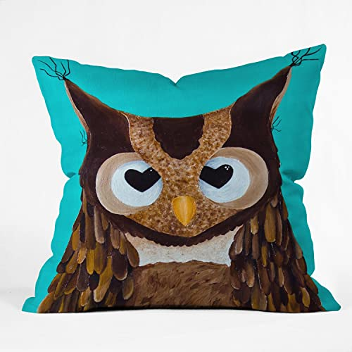 Deny Designs Mandy Hazell Owl Love You Throw Pillow, 26 x 26