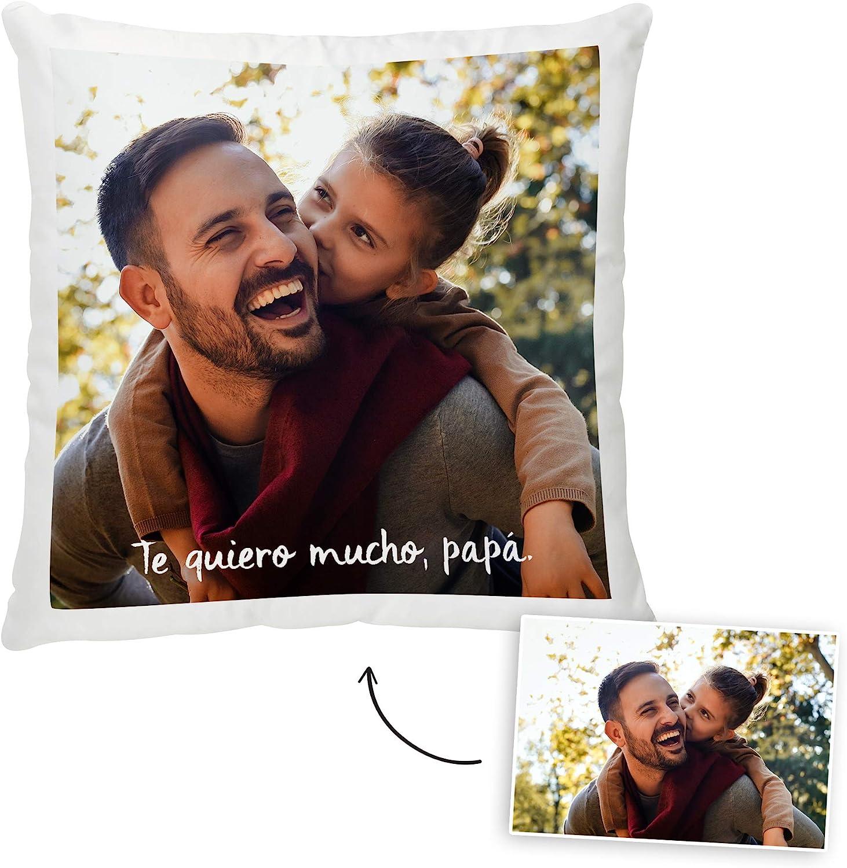 Fotoprix Cojín con Foto y Texto Personalizado para Papá | Regalo Original día del Padre | Varios diseños Disponibles | Tamaño: 35 x 35 cms