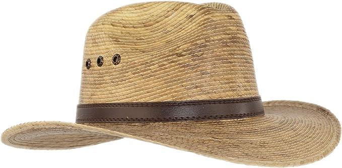 Big Wide Brim Natural Palm Leaf Straw Cuban Gaucho Fedora UPF Sun Hat Flex Fit